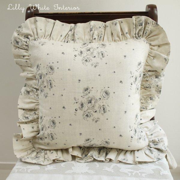 イギリス輸入生地 フリルクッションカバー チャコールローズ リリィホワイト布の通販
