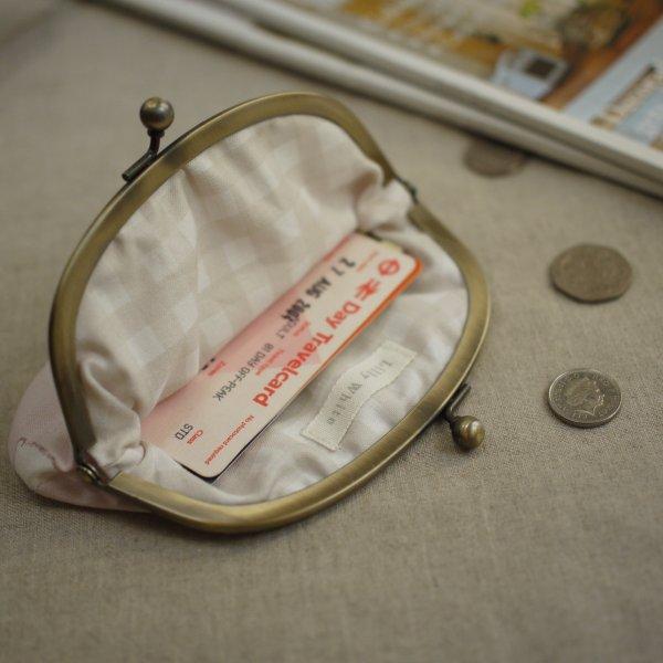 がま口カードケース/コインケース ラビット&クローバー ブロッサムピンク