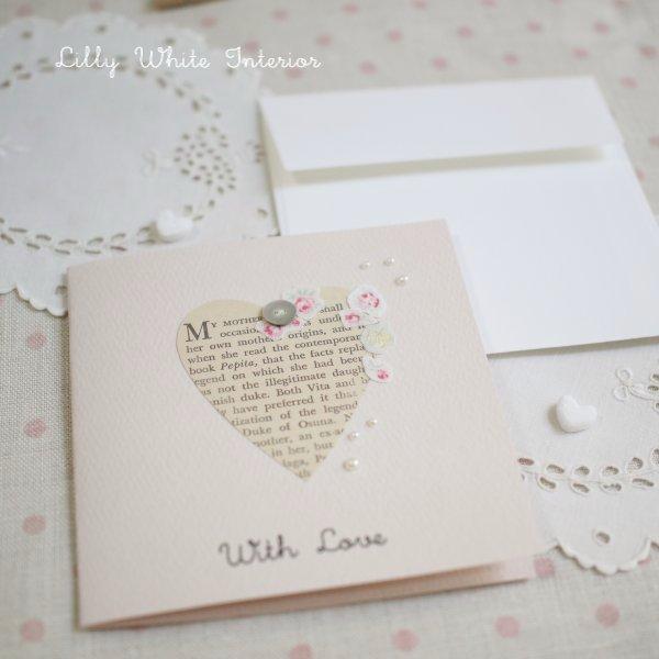多目的カード With Love /ハートにお花のコラージュ