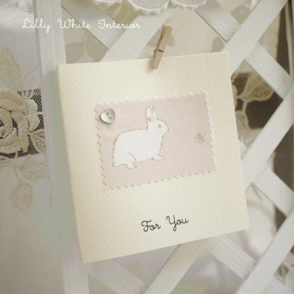 多目的グリーティングカード For You /ラビット&クローバー ピンク・グリーン