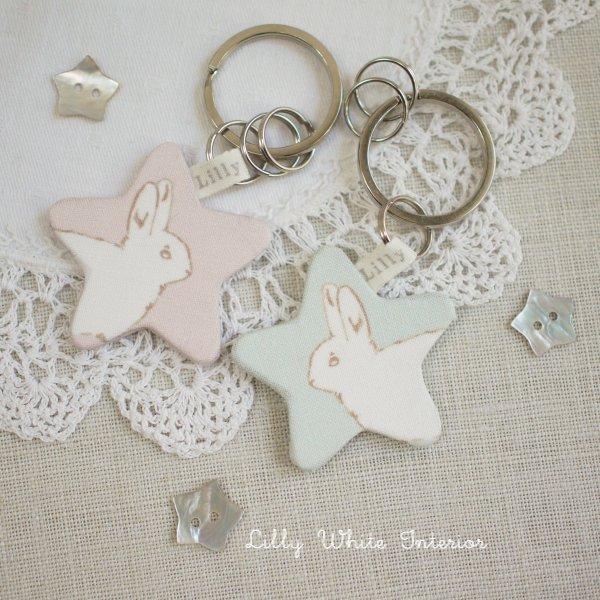 リリィホワイトデザイン・星のキーリング/星のキーホルダー