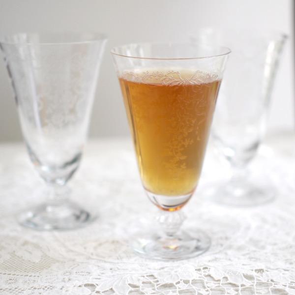Fostoria フォストリア・ロマンス*エレガントグラス*リボンとお花のアイスティーグラス