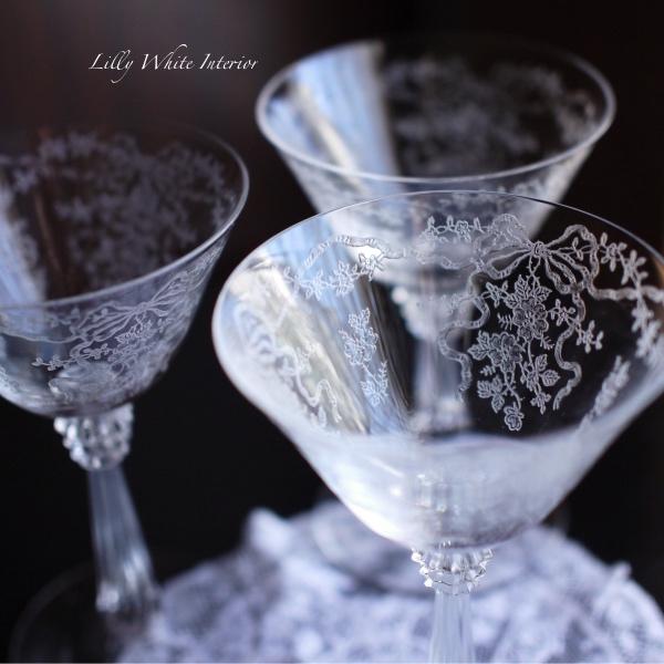 Fostoria フォストリア・ロマンス*エレガントグラス*リボンとお花のシャンパーニュ/シャーベットグラス